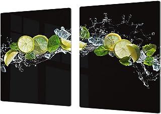 Enorme Cubre vitros de cristal templado - Tablas para cortar gigante – Tabla para amasar y protector de vitro – UNA PIEZA (80 x 52 cm) o DOS PIEZAS (40 x 52 cm) Serie de Frutas y Verduras DD02