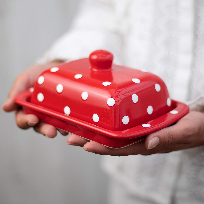 City to Cottage® Mantequera de Cerámica Cubierta con Tapa Diseño de Lunares Hecha y Pintada a Mano en Rojo y Blanco