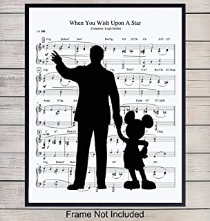 Walt Disney and Mickey Mouse Music Wall Art Print - 8X10 Unframed Photo - Perfect Gift For Walt Disney and Disneyland Fans, Great For Home Decor