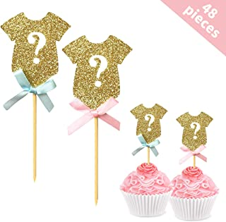 Gender Reveal Cupcake Toppers(48 Pack), BRT Glitter Gender Reveal Baby Shower Party Cake Food Decoration Supplies
