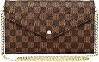 Miracle Checkered Cross Body Bag | Chain Wallet Clutch with Credit Card Slots | Evening Purse - PU Vegan Leather