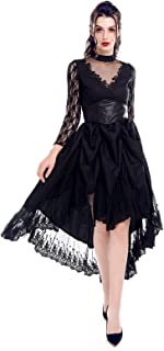 Women's Steampunk Victorian Dress Gothic Ruffled High Low Floral Lace Dress Halloween Costume