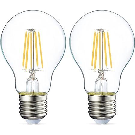 Amazon Basics Ampoule LED E27 A60 avec culot à vis, 4.3W (équivalent ampoule incandescente 40W), transparent avec filament - Lot de 2