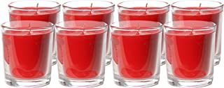 CandleNScent Unscented Votive Candles in Glass | Up to 20 Hour Burn Time | Red (Pack of 8)