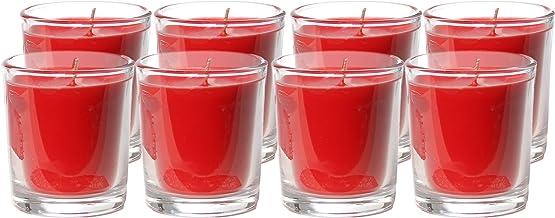شموع نذرية غير معطرة في الزجاج من كاندل إن سينت | وقت احتراق لمدة تصل إلى 20 ساعة | أحمر (عبوة من 8 قطع)