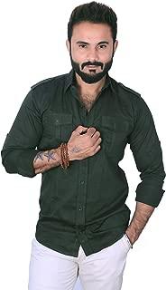 REBANTA Dark Green Cotton Plain Casual Shirt for Men Strap Shoulder Pattern