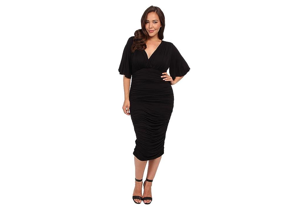 Kiyonna Rumor Ruched Dress (Black) Women