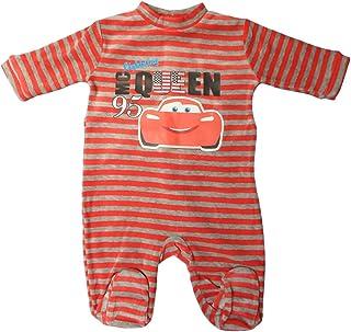 Disney Cars Pyjama / Schlafanzug / Strampler - Baby Lightning Mc Queen Race to the USA - Rot/Grau gestreift