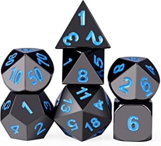 DNDND Metal Dice Set,7-Die Polyhedral Dice with Metal Box, Shiny Black Finish with Blue Number for Role Playing Game,Dungeons & Dragons,Pathfinder,Shadowrun,D&D,RPG Dice Gaming and Math Teaching.