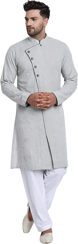 Luxury SKAVIJ Men's Tunic Cotton Side Button D Wedding Set Pajama Max 64% OFF Kurta