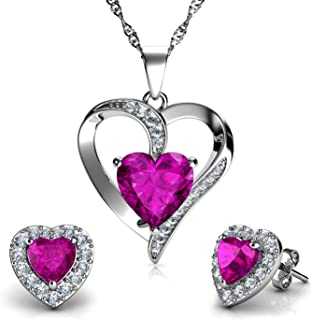 DEPHINI - Heart Necklace & Heart Earrings Set - 925 Sterling Silver - Pink Crystal Studs & Pendant Birthstone- Fine Jewell...