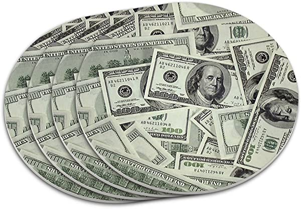 Hundred Dollar Bills Money Currency Coaster Set