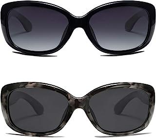 Sponsored Ad - SOJOS Vintage Square Sunglasses for Women Polarized UV Protection Havana Frame SJ2111(2 Pairs of Sunglasse)