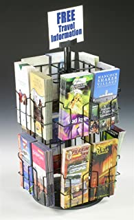 Wire Literature Display for Counter, Rotating Brochure Rack with 16 Full-View Pockets for 4x9 Pamphlets, Plastic Sign Holder Included - Black