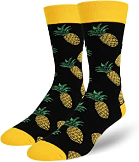 Men's Novelty Crazy Food Fruit Crew Socks, Funny Pineapple Avocado Taco Design