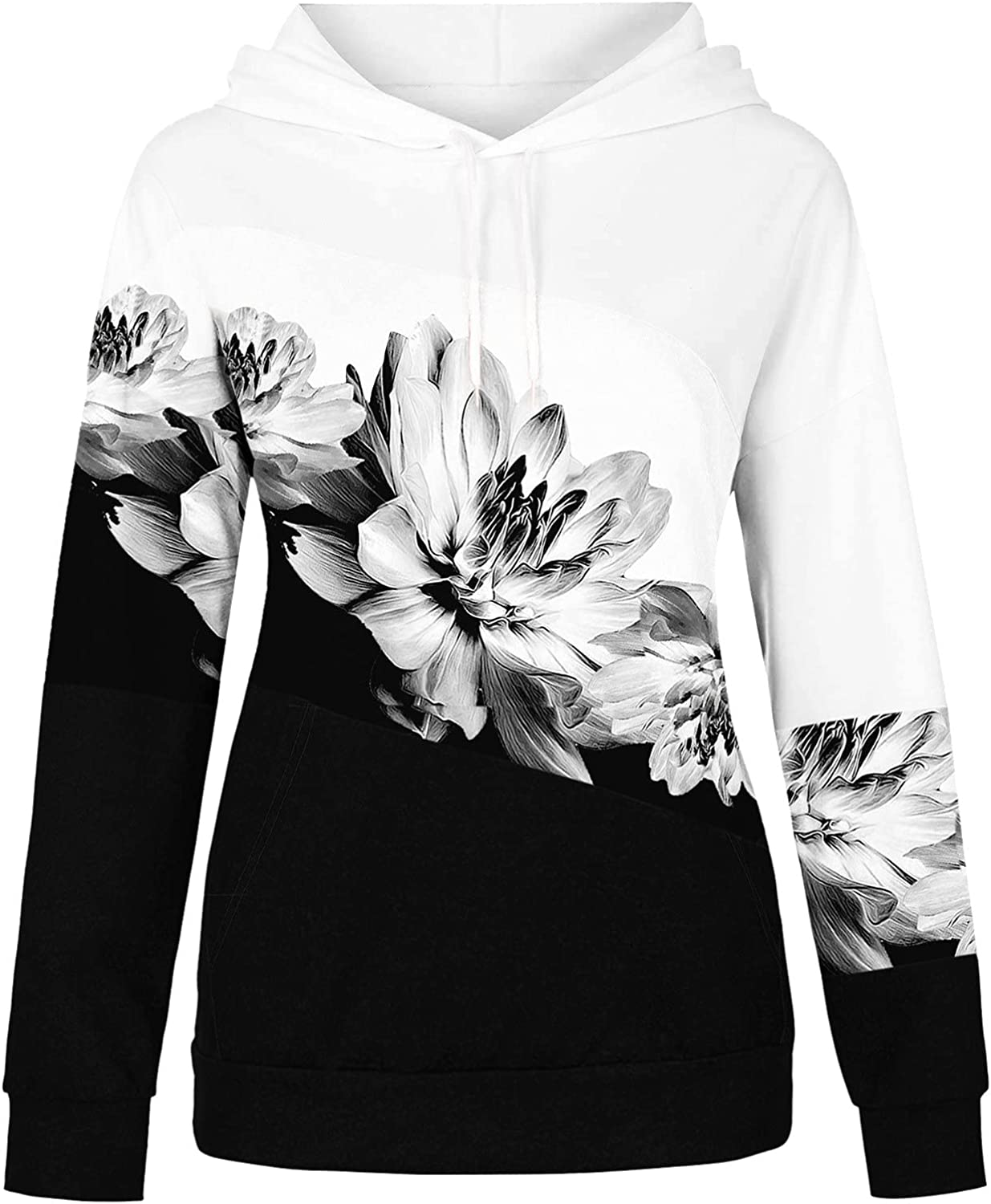 Women's Casual Long Sleeve Sweatshirt Drawstring Loose Pullover Tops With Pockets Lightweight Hoodies Sweaters Shirts