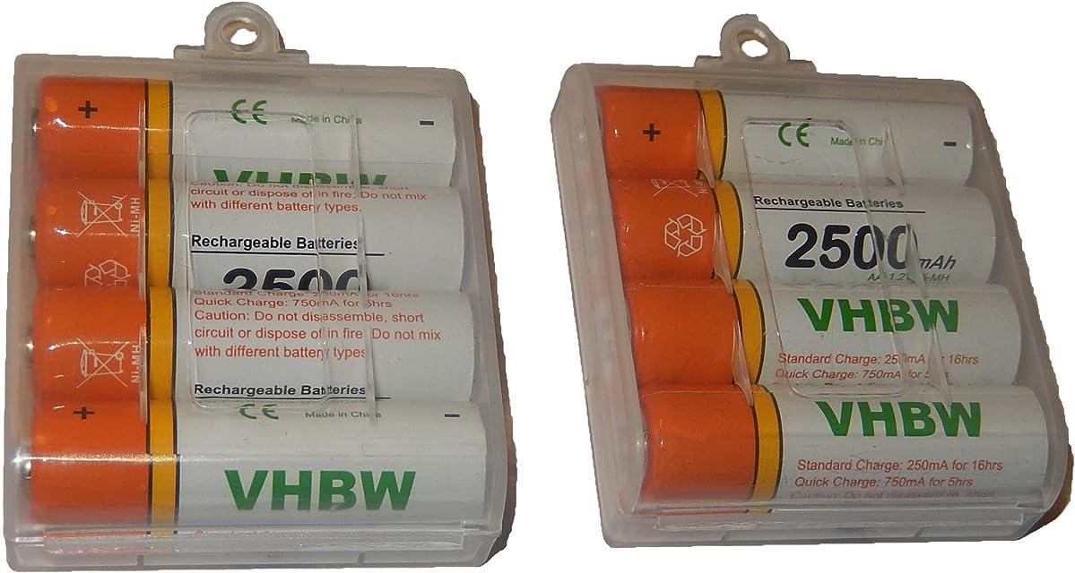 vhbw 8 x Pilas AA Mignon HR6 LR6 2500mAh para Fujifilm FinePix S3000 S3200 S3250 S3300 S3350 S3400 S3450 S3500 S3900 S4000 S4050