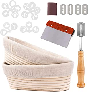 Oval Bread Proofing Basket 10In Banneton Proofing Basket with Stainless steel Scraper Tool, DIXLAMN Linen Liner Cloth, Dou...