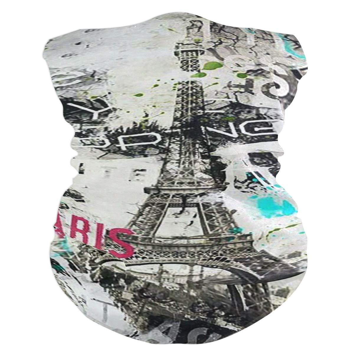 SLHFPX Paris Eiffel Tower France Love Romantic Country Headband WoBandana Balaclava,Neck Warmer,Face Mask,Neckerchief Hatliner