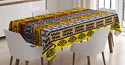Ambesonne Tribal Tablecloth, Motifs with Hand Drawn Style Borders Pattern Artwork, Dining Room Kitchen Rectangular Table Cover, 52