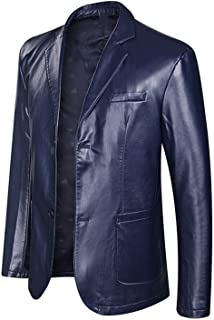 Spring and Autumn Loose Lapel Leather Jacket Men Leather Casual Jacket Mens Leather Coat
