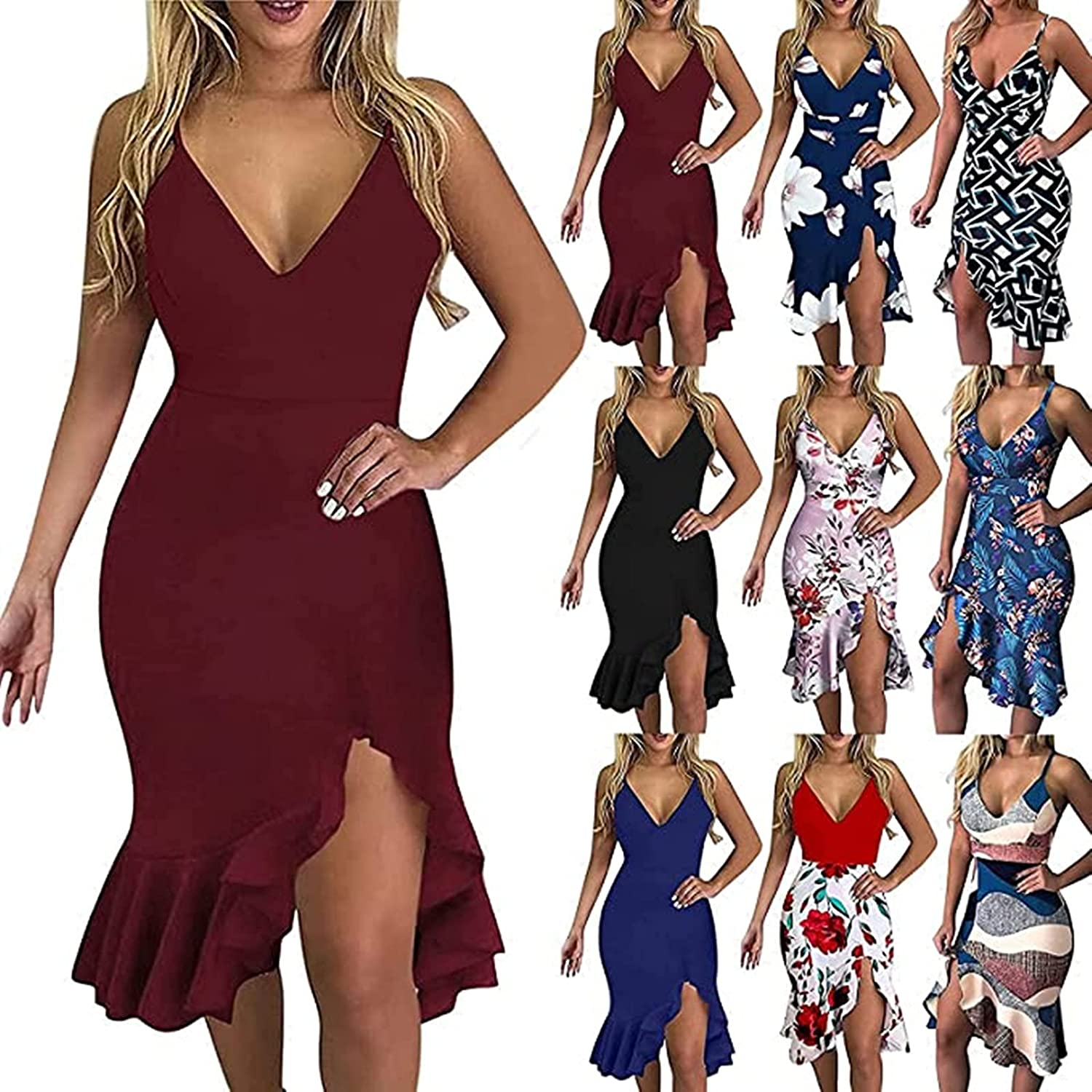 ORT Sexy Dresses for Dinner Date, Women's Sexy See Through Drawstring Ruched Slim Dress Sheer Mesh Printed Mini Bodycon Party Dress