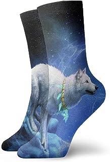 Adulto Corto Calcetín Nieve Montaña Lobo Luna Galaxy Algodón Unisex Clásico Calcetines Para Hombres Mujeres Correr Fitness Deportes