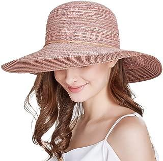 Jersri Women Foldable Straw Sun Hats, Wide Brim UV Protection Summer Beach Hats