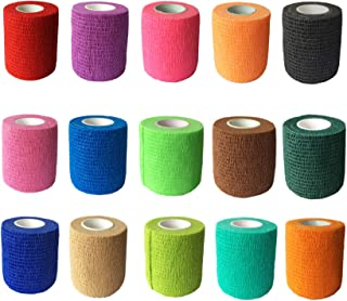 KISEER 15 Pieces Adhesive Bandage Wrap Rolls Stretch Self-Adherent Tape for Sports, Wrist, Ankle, 5 Yards Each (15 Colors, 2 Inches)
