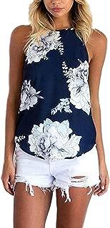 Summer Tank Tops Cami Shirts for Women Random Floral Print Chiffon Camis Vest