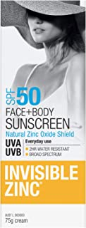 Invisible Zinc SPF50 Face and Body Sunscreen, 75g