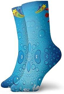 artyly, Gotas de agua helada Hombres Mujeres Calcetines deportivos de algodón atlético Calcetín con lengüeta transpirable informal 30 cm