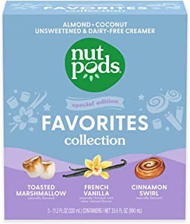 nutpods Favorites Collection, (3-Pack), Toasted Marshmallow, French Vanilla and Cinnamon Swirl, Unsweetened Dairy-Free Cre...