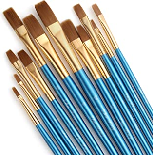 Acrux7 Flat Paint Brushes Set, 12pcs Paintbrushes Flat/Shader Tip for Watercolor, Oil, Acrylic Painting and Craft, Nail, Face Paint (Blue Pen)