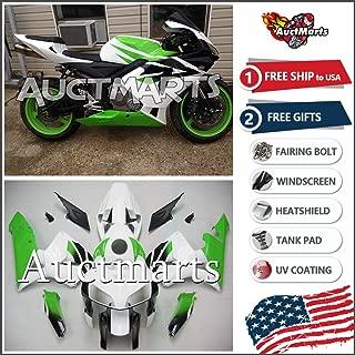 Auctmarts Injection Fairing Kit ABS Plastics Bodywork with FREE Bolt Kit for Honda CBR600RR CBR 600 RR 2005 2006 White Green Black Honda Wing (P/N:1b82)