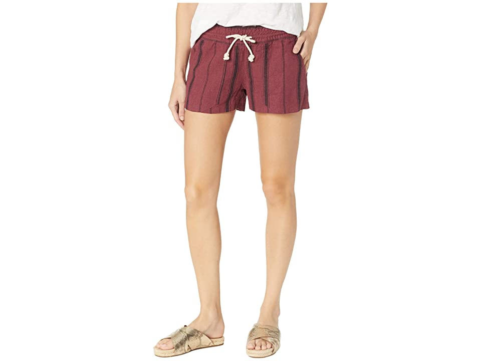 Roxy Oceanside Shorts Yarn-Dye (Oxblood Red/Tea Party Stripe) Women