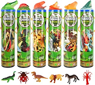 84 Pieces Animal Toys Dinosaur Sea Insect Animal Farm Reptile Figures for Stocking Stuffers Bulk Mini Plastic Vinyl Assorted Figurines Playset( 6 Containers) Party Toys for Kids,Boys and Girls