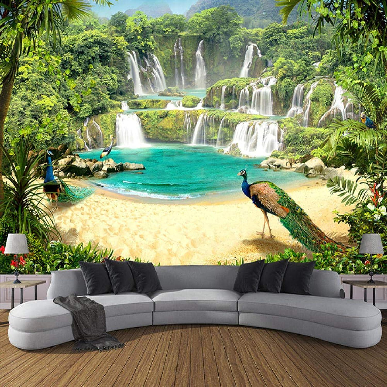 Precio al por mayor y calidad confiable. Zhangxuer Murales de de de Papel Tapiz 3D Personalizados Cascada Pavo Real Paisaje del Lago Efecto 3D Sofá TV Fondo de Parojo Mural Foto Papel de Parojo Talla 250x175cm  autentico en linea