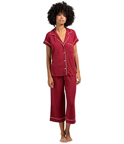 Eberjey Gisele The Cropped Pajama Set (Sangria/Ivory) Women