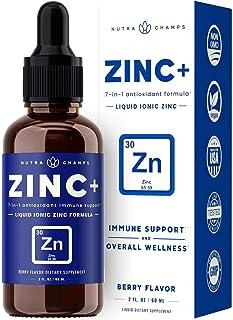Organic Zinc Liquid Supplement - Zinc+ 7-in-1 Immune Support System Boost with Elderberry, Vitamin C, Echinacea & More - I...