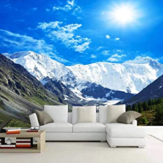 Wall Mural Wallpaper Wallpaper Blue Sky Snow Mountain Scenery 3D Photo Wallpaper for Living Room Bedroom Decoration (Can Be Customized)