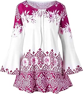 Womens Floral Print Tunic Tops 3/4 Long Sleeves Casual Loose Floral Blouse Button Up Print Shirts