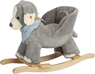 ROCK MY BABY Baby Rocking Horse Puppy with Chair,Plush Stuffed Animal Dog Rocker,Wooden Rocking Toy Puppy/Baby Rocker/Animal Ride on,for Girls& Boys Age 1 Year and Up(Gray Dog/Puppy for 12M+)