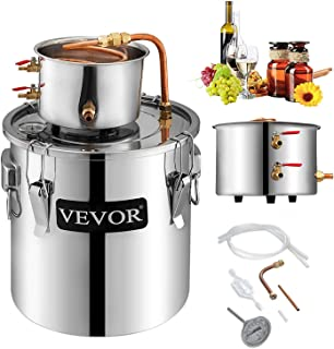 VEVOR Moonshine Still 3 Gal 12L Stainless Steel Water Alcohol Distiller Copper Tube Home Brewing Kit Build-in Thermometer for DIY Whisky Wine Brandy, 3Gal, Sliver