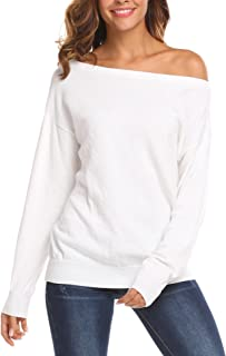 Women's Cold Shoulder Sweater Boat Neck Long Sleeve Loose Fitting Sexy Sweatshirt Pullover