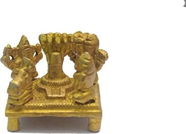 AC Creation Brass Shiva Lingam Statue with Shiv Family Parvati, Nandi, Ganesh, Kartik and Snake on Shivling with Abhishek Lot