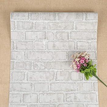 Papel tapiz gris Ladrillo Papel pintado autoadhesivo vintage Papel tapiz despegable y adhesivo Papel de contacto gris y blanco Papel tapiz extraíble para sala de estar, dormitorio y cocina 44*500cm