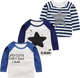 Eveliyning Newborn Unisex Babys Long Sleeve Tee Boys Cotton Cartoon Pattern Shirt Girls Contrast Color Autumn Round Neck Sport Bottoming Shirt Fashion Wild Girls Casual Daily Outfit