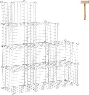 C&AHOME Wire Cube Storage, 9-Cube Storage Organizer, Metal Stackable Storage Bins, Modular Bookcase, DIY Closet Cabinet Id...
