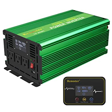 Renoster 1500W Pure Sine Wave Inverter Power Converter, DC 12V to AC 110V/120V with Rechargeable Remote Control LCD Display 3 AC Outlets and 2.1A USB Port for RV Truck Road Travel Emergency Tools